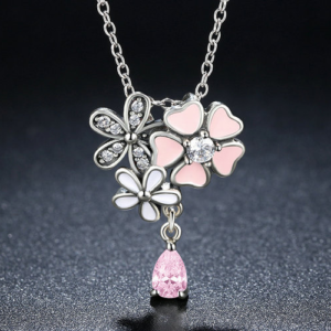 Cute Pink Cherry Blossom Flower Necklace JEWELRY & ORNAMENTS Necklaces & Pendants Fine or Fashion: Fashion
