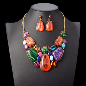Multiсolor Gems Statement Necklace and Earrings Set