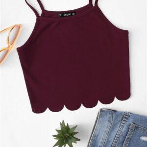 Women's Burgundy Short Cami Top Camisoles & Thermals FASHION & STYLE cb5feb1b7314637725a2e7: Red