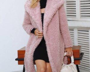 Women's Casual Fluffy Fur Coat Coats, Suits & Blazers FASHION & STYLE cb5feb1b7314637725a2e7: Apricot Pink