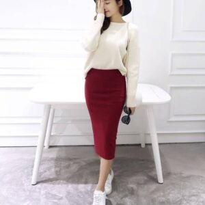 Women's Classic Mid Pencil Skirt FASHION & STYLE Shorts & Skirts cb5feb1b7314637725a2e7: Black Deep Gray Gray Navy Red Wine Red