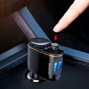 Black Car Transmitter with Bluetooth Headphones & Speakers Mobile Accessories PHONES & GADGETS Travel Accessories cb5feb1b7314637725a2e7: Black